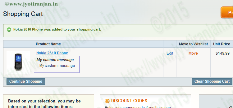 Add custom message in checkout cart page