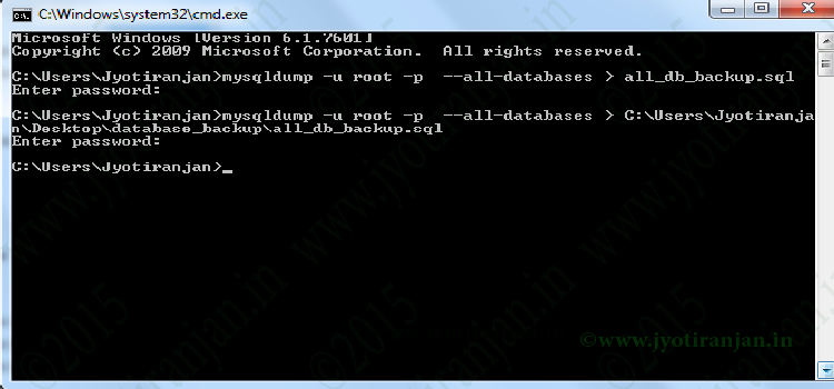 How to import export sql file from command line