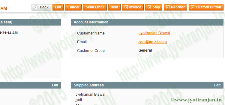 Magento admin panel custom button in order view page.
