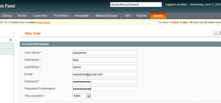 Create magento admin user by custom script.