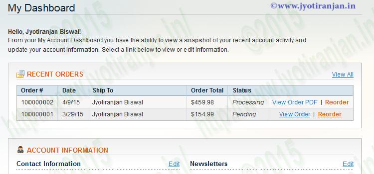 Magento order invoice pdf in customer account dashboard