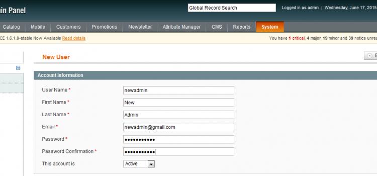 Create magento admin user by custom script.